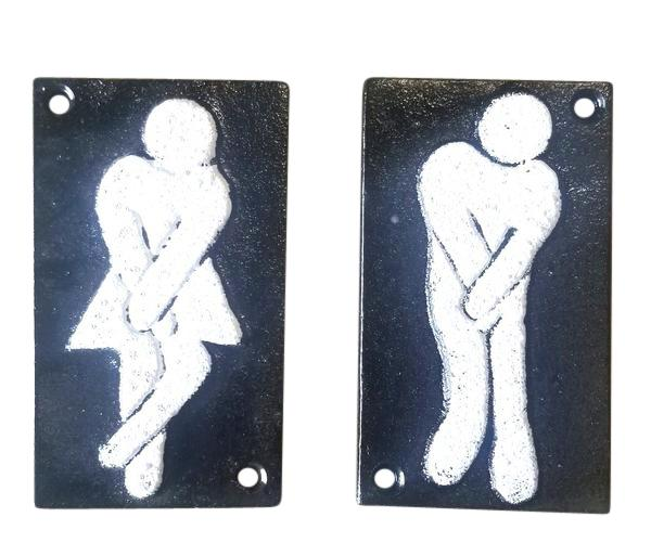 2pc Funny Cast Iron Bathroom Plaques Signs primitive