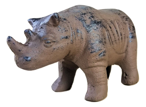 Rhino Doorstop Cast Iron Heavy Rustic Vintage Look