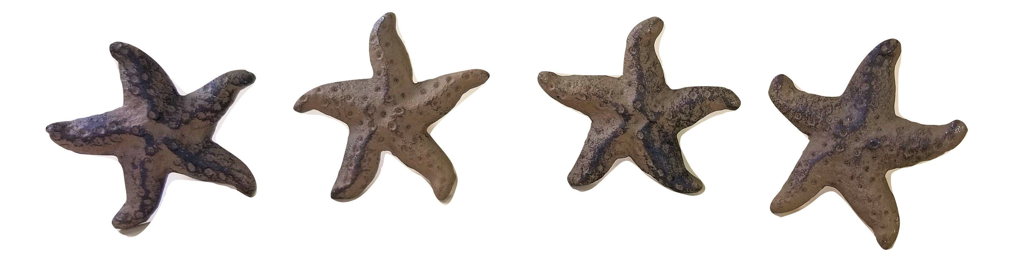 4 Cast Iron Starfish Knobs for Drawers or Cabinet Doors