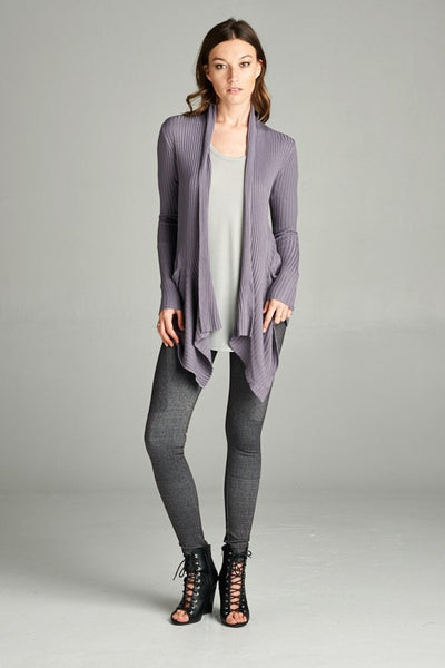 Soft Feminine Ribbed Cardigan with Hip Pockets and Front Drape