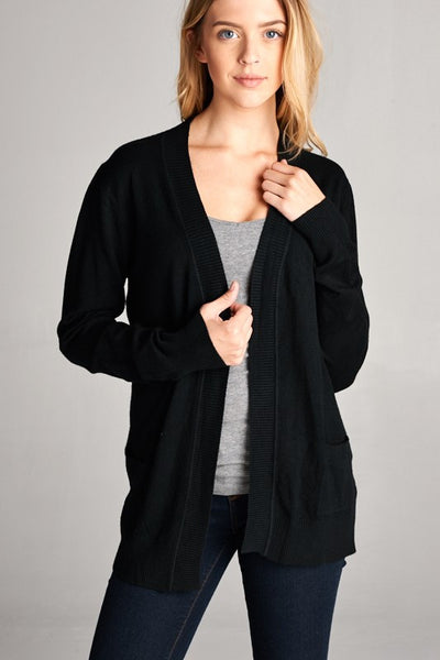 Soft Knit Basic Cardigan with Front Pockets