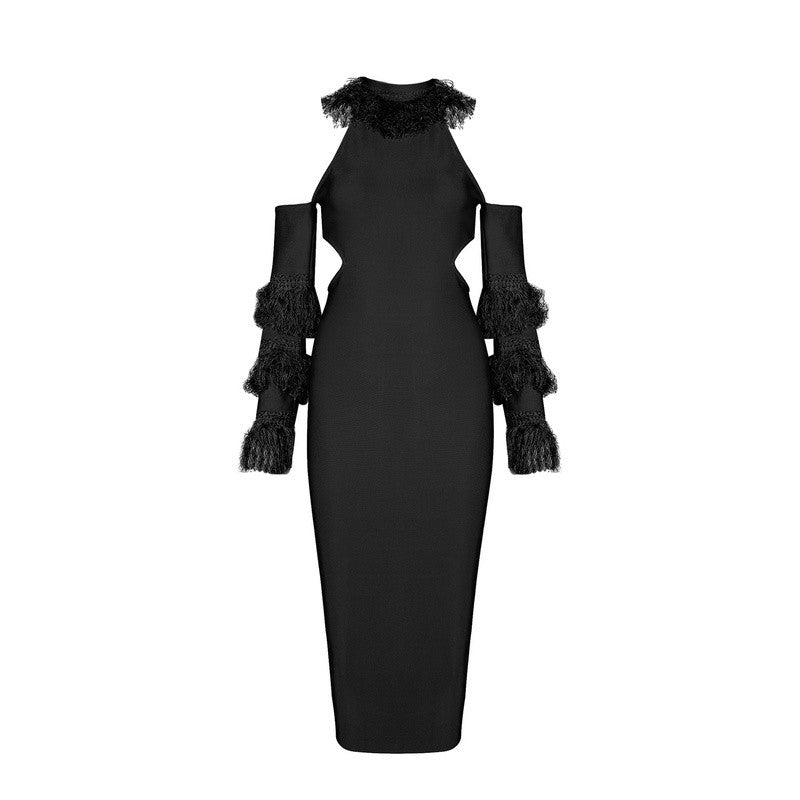 'Ajay' black frill cold shoulder cut out  midi dress