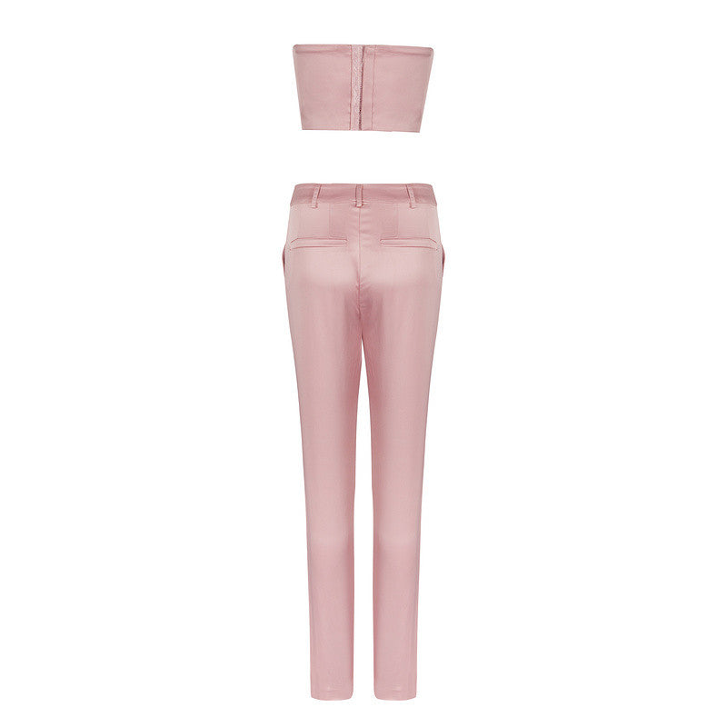 'Bae'  blush satin bustier trouser two piece