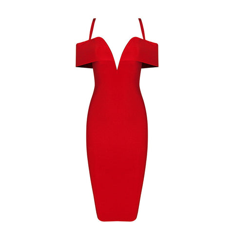'Karice' red deep v plunge maxi criss cross side cut out