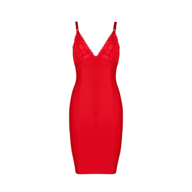 'Regal'  Red lace bust bandage dress
