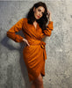 'Carey' burnt orange wrap dress