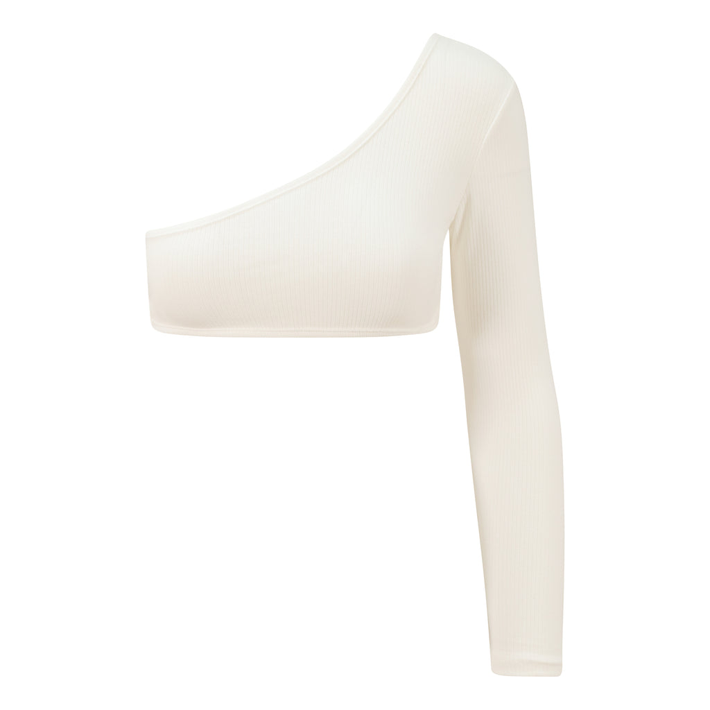 'Breena' white asymmetric one sleeve ribbed top