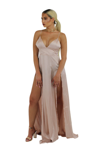 'Bea' rose gold  sequin plunge gown