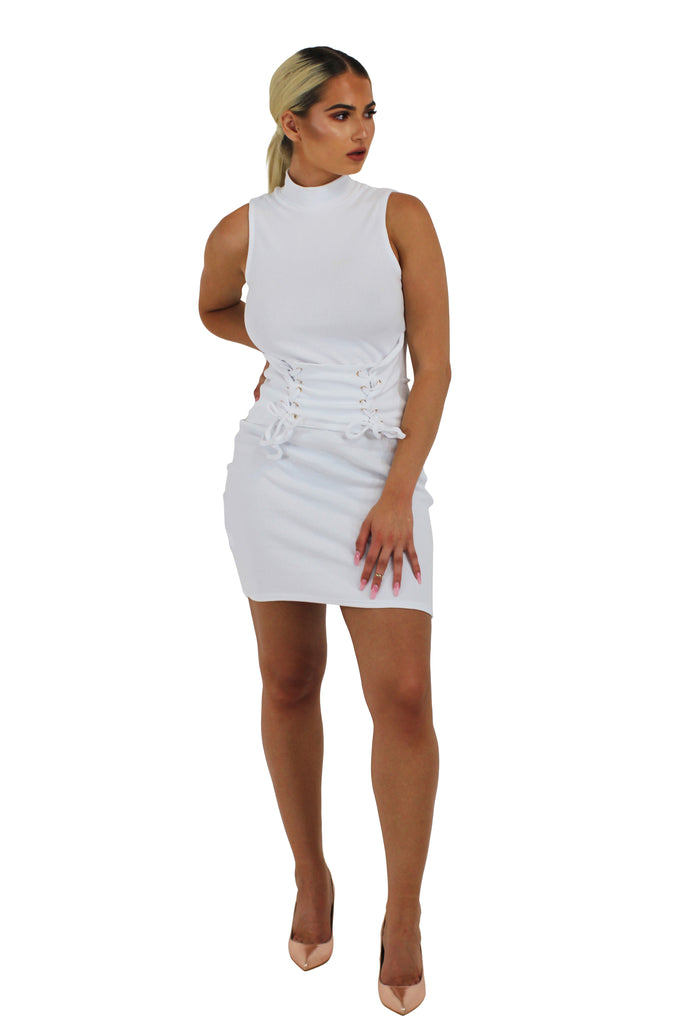 'Dena' white ribbed jersey bodycon fabric corset style