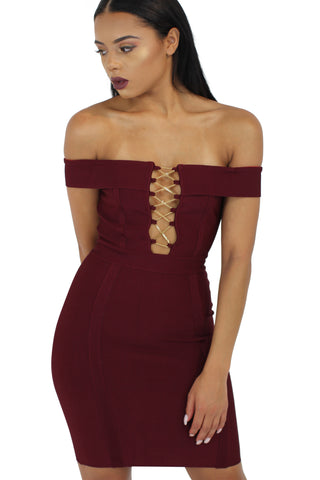 'Freya' Dusty pink off the shoulder chain insert bandage dress