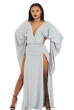 'Carrie' grey exaggerated sleeve double split gown