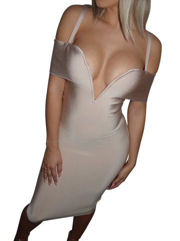 'Amira' White Off the Shoulder Bustier Midi Dress