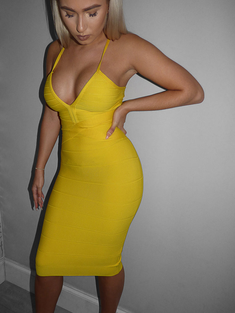 'Carina'  Yellow deep v plunge midi bandage dress