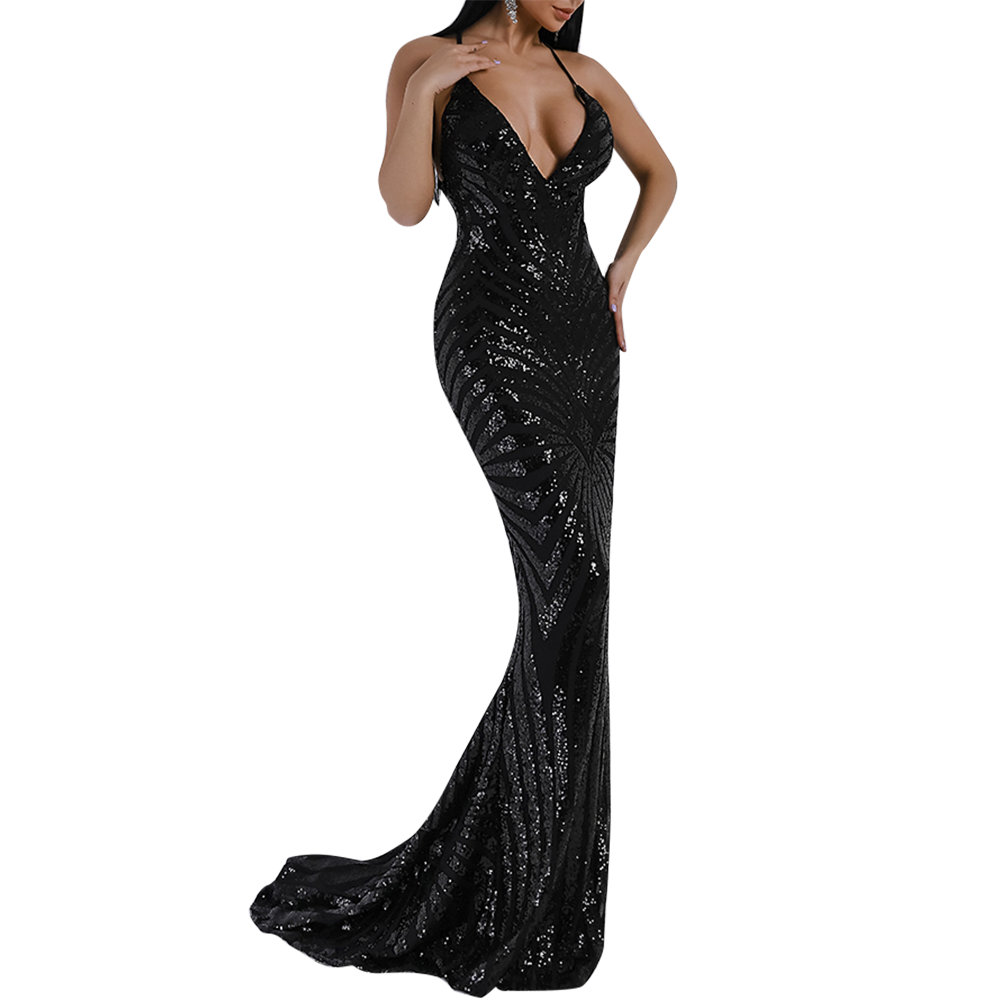 'Kristine' black sequin geometric plunge gown