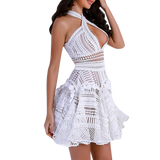 'Serena' white halter crochet summer dress