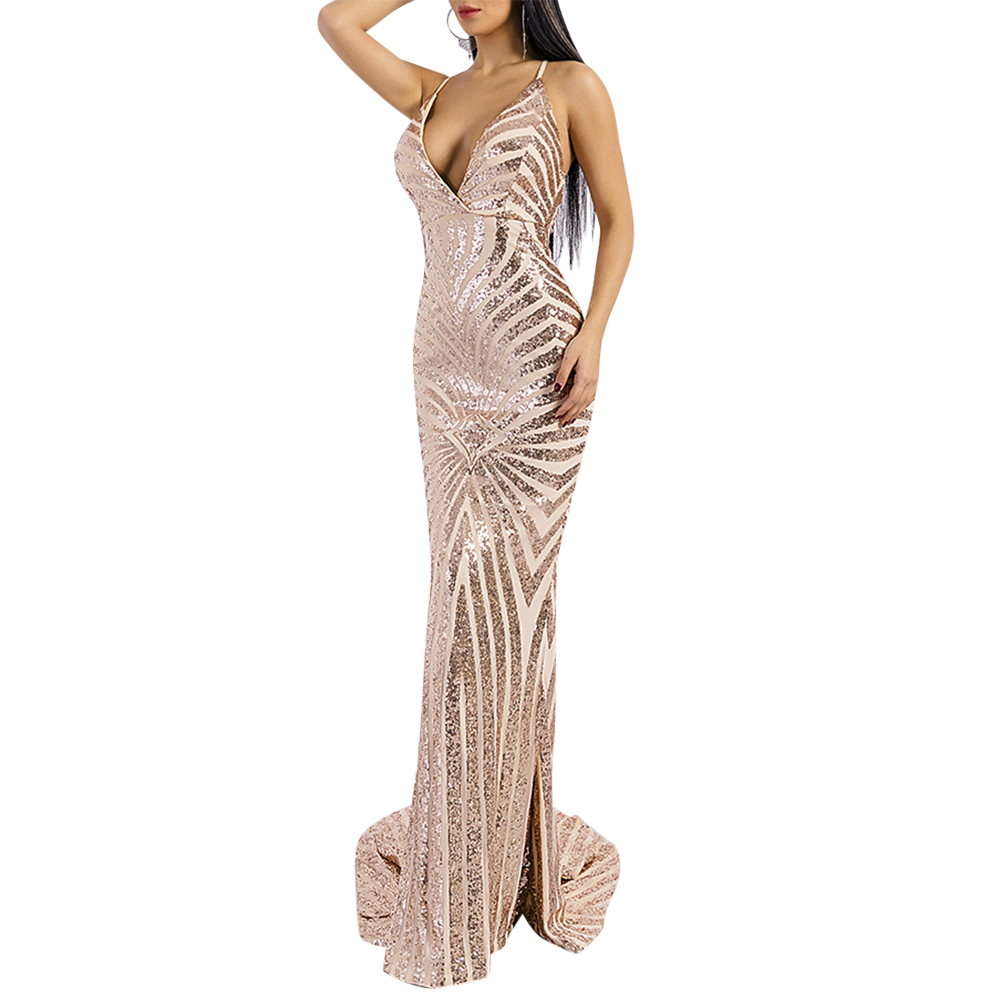 'Kristine' gold sequin geometric plunge gown