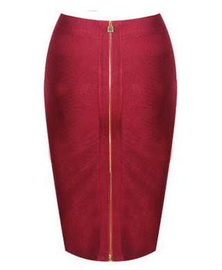 'Lanay' red bandage double gold zip skirt