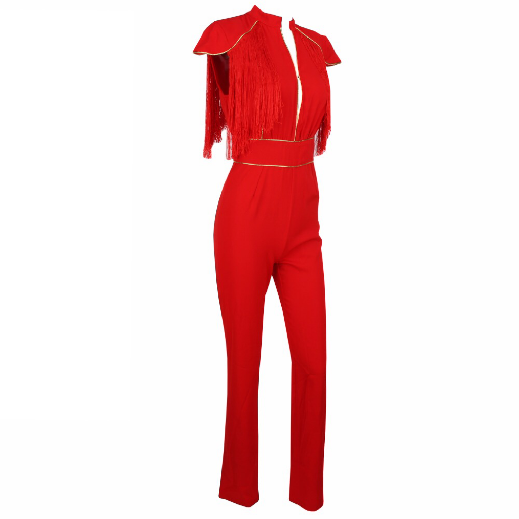 'Ollie-Love' red fringe tassel jumpsuit