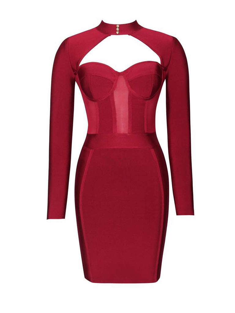 'Melly' red long sleeve bustier bandage dress