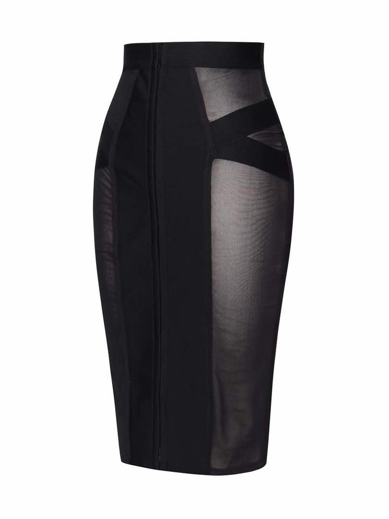 'Ebony' black mesh semi-sheer insert bandage skirt