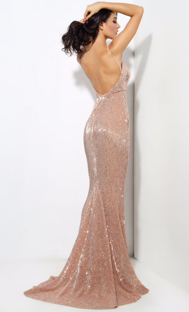 Bea\' rose gold sequin plunge gown – Oh My Purple