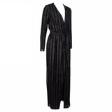 'Rumi' black glitter stripe maxi wrap dress