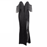 'Angel-Love' black  glitter off the shoulder fringe maxi  tassel dress