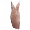 'Daryn' rose gold sequin V plunge dress