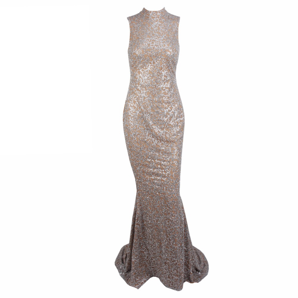 'Rona-Love' nude and silver glitter baroque halter gown