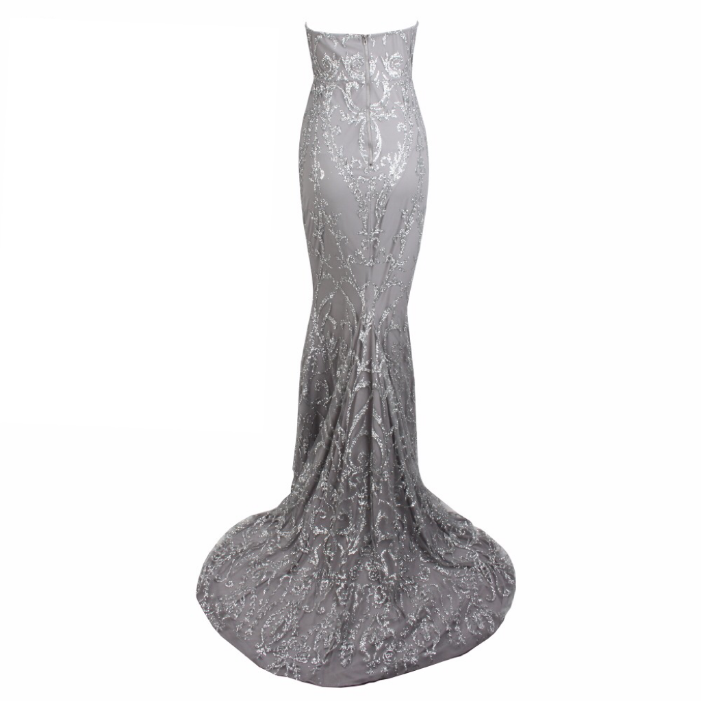 'Riveria' grey strapless mini sequin baroque gown