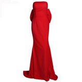 'Kirsty'  Red strapless large bow gown