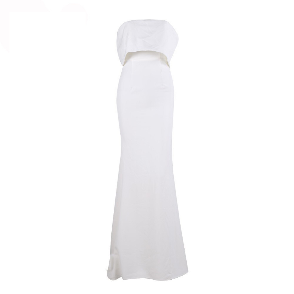 'Prali' White strapless layered bow gown