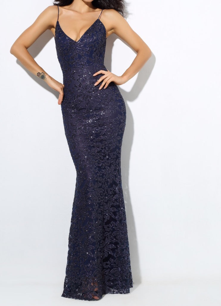 'Rona-Ria'  midnight blue  glitter baroque plunge gown
