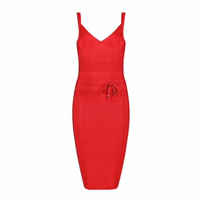 'Lari' red sculpted bandage dress with front lace tie