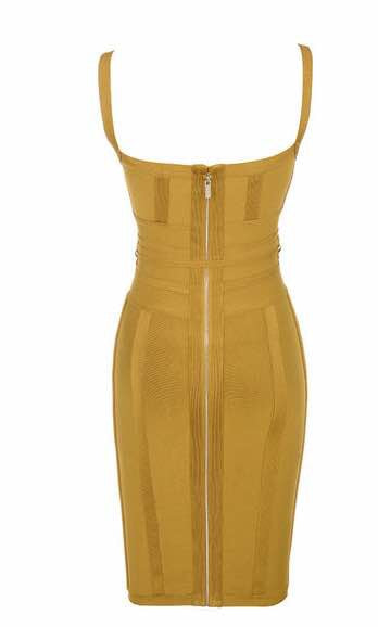 'Lari' mustard sculpted bandage dress with front lace tie