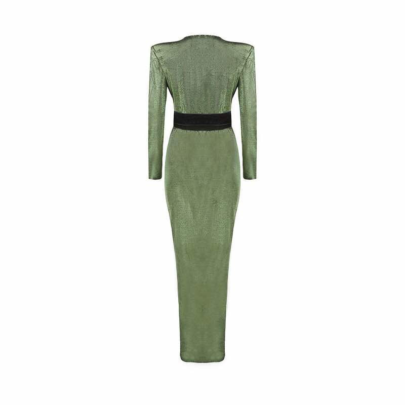 'Vamont' green metallic black waist tie maxi