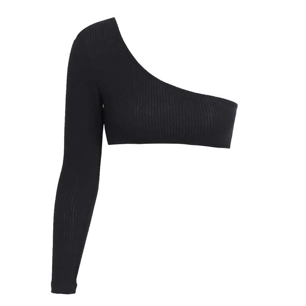 'Breena' black asymmetric one sleeve ribbed top