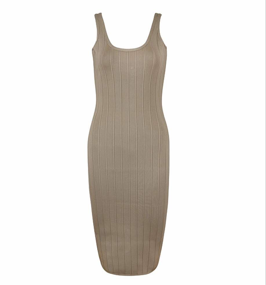 'Bren' khaki ribbed sleeveless bandage dress