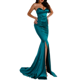 'Eleanor' teal satin strapless gown