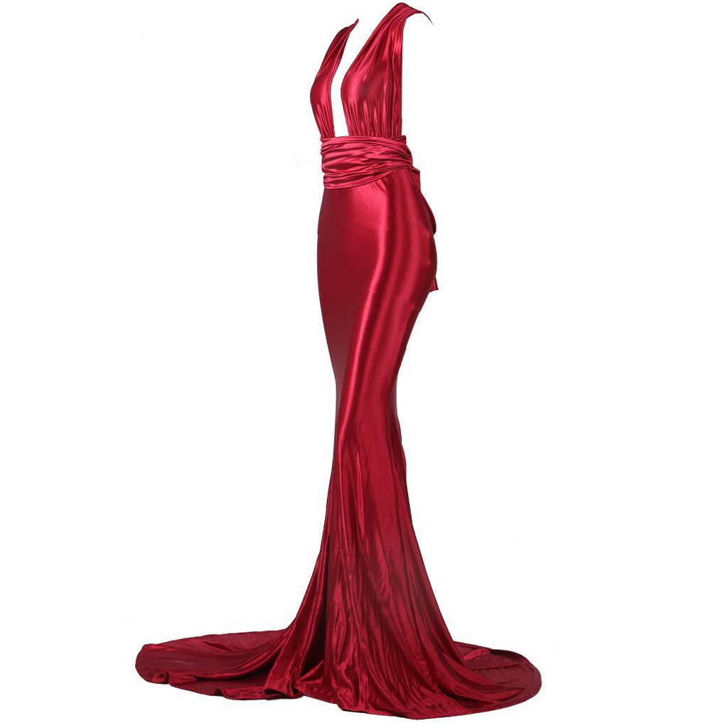 'Rose' red satin wrap maxi gown