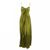 'Andie' green satin like exaggerated front tie jumpsuit