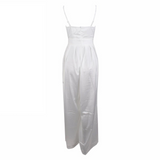 'Andie' white satin like exaggerated front tie jumpsuit