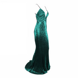 'Bea' green  sequin plunge gown