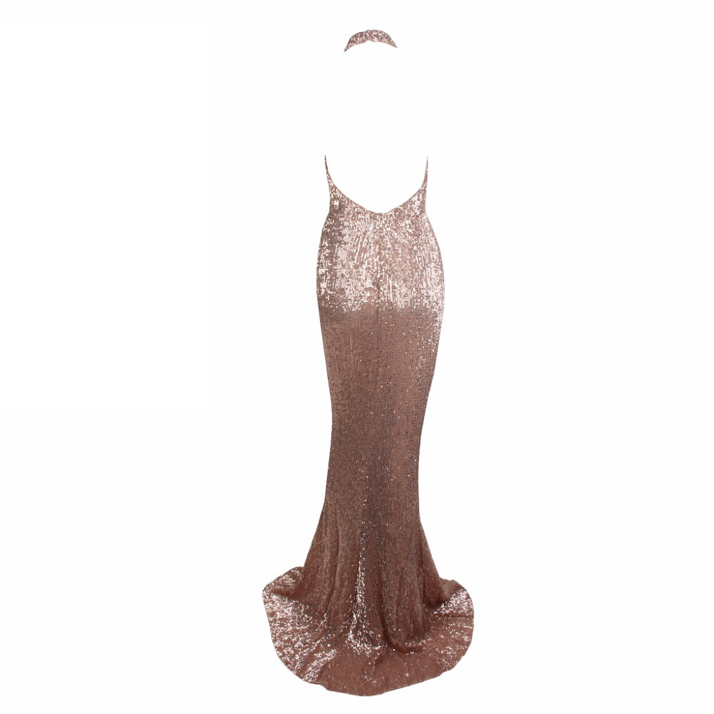 'Hermoine' rose gold halter sequin open back gown