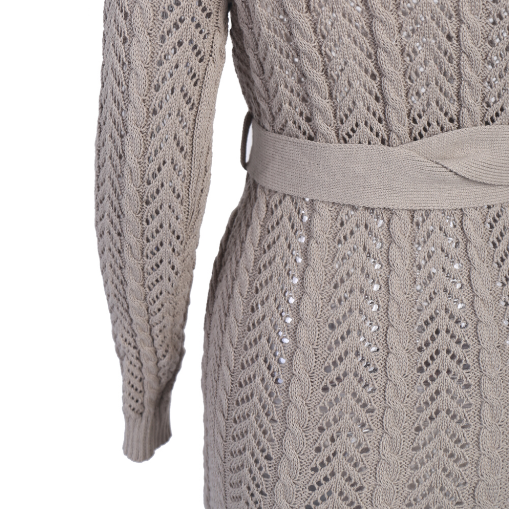 'Aioke' taupe crochet knitted  one sleeve maxi dress