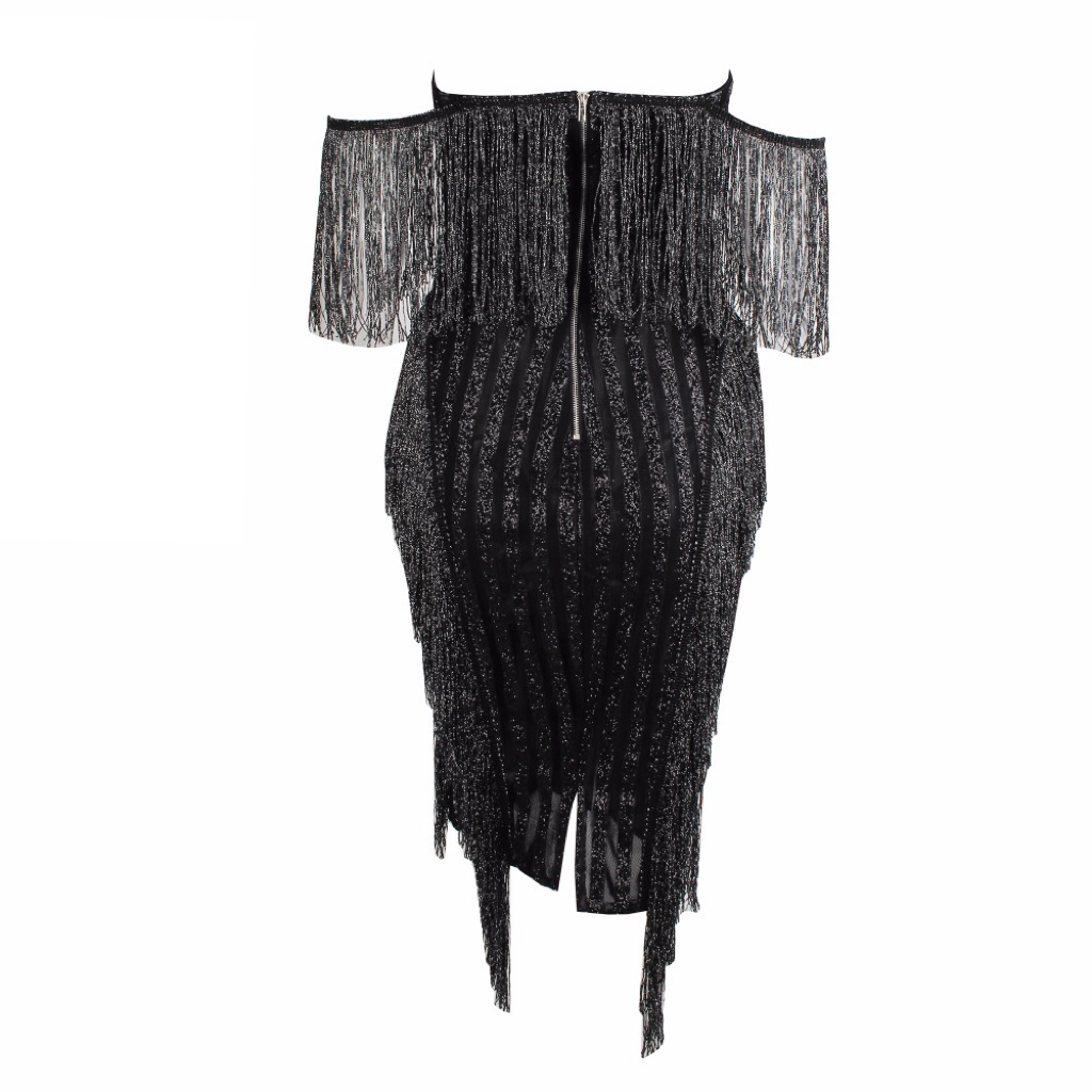 'Angel' black sequin off the shoulder fringe tassel dress