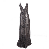 'Empire' semi-sheer metallic sequin gown