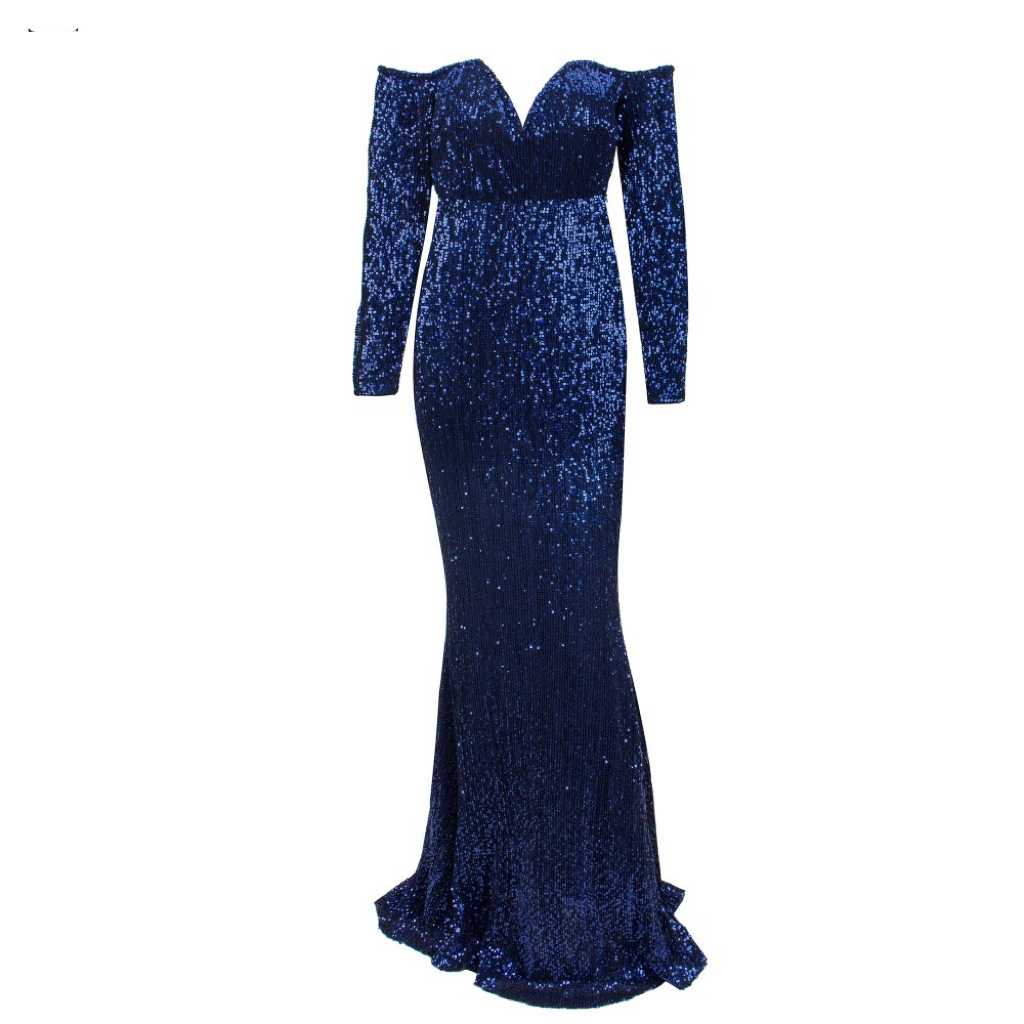 'Bea-Me' midnight blue sequin off the shoulder V plunge gown