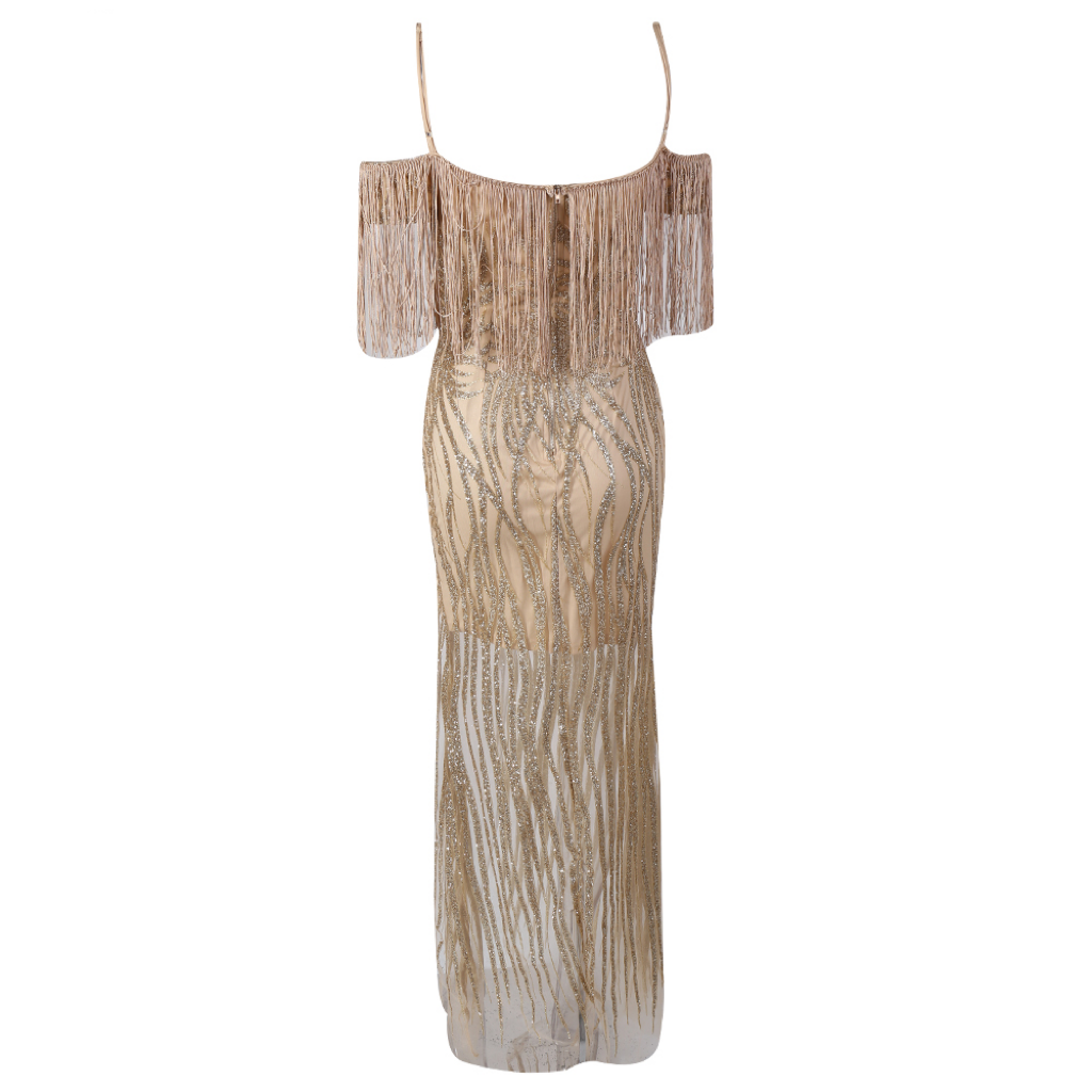 'Isabelle' nude and gold fringe top glitter maxi dress