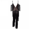 'Laya' black fringe tassel deep plunge cold shoulder jumpsuit